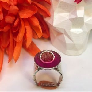 Sterling Silver Coral Inlay Statement Ring 8 1/2